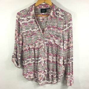 Maeve Anthropologie Islet Button Front Blouse Pink